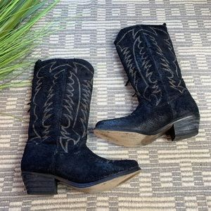 All Saints Black rough suede cowgirl boots 39